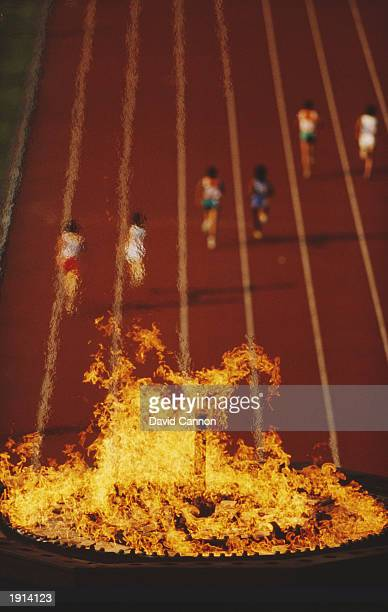 A flame burns in the Olympic Stadium during the Asian Games in Seoul South Korea Mandatory Credit David Cannon /Allsport