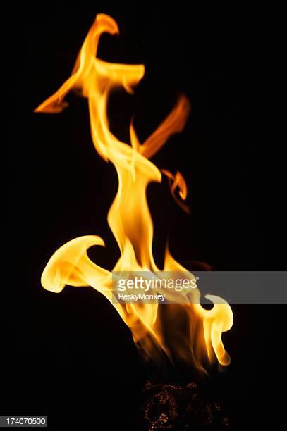 Flamme Nahaufnahme auf einer Laterne schwarzem Hintergrund