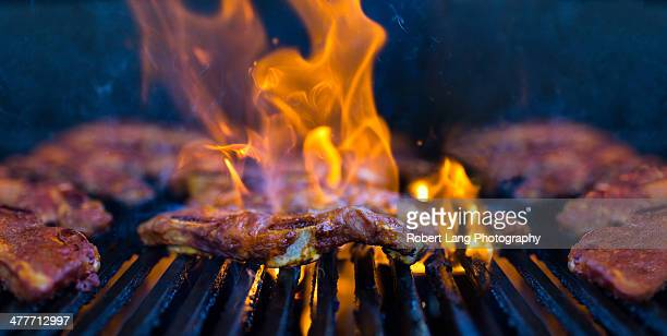 Flame grilled marinated beef ribs, barbecue meat
