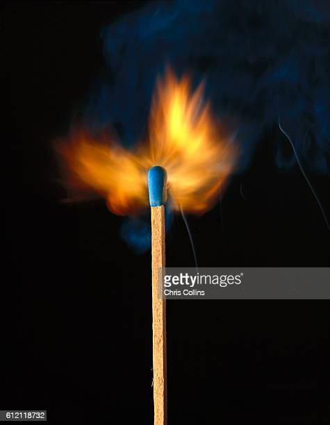 Flame on Wood Match Stick