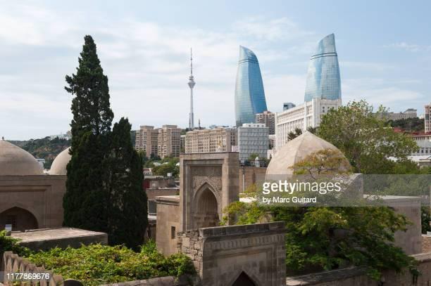 flame towers and palace of the shirvanshahs, baku, azerbaijan - baku stock pictures, royalty-free photos & images