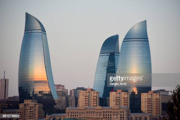 Flame Towers at sunrise