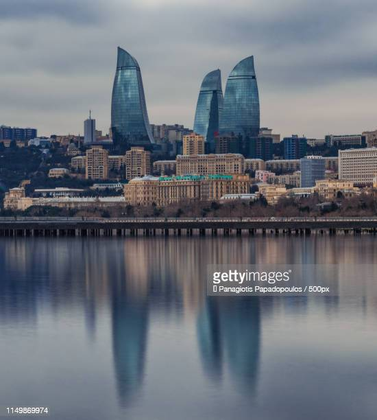 flame towers - azerbaijan stock pictures, royalty-free photos & images
