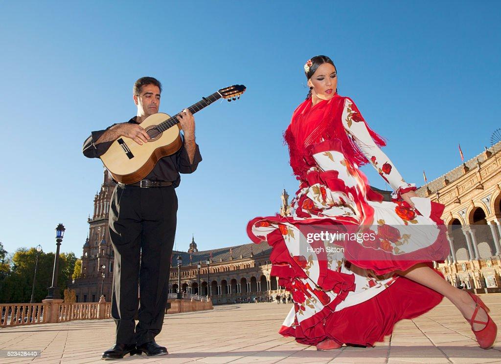 Flamenco dancer and guitarist : Stock Photo