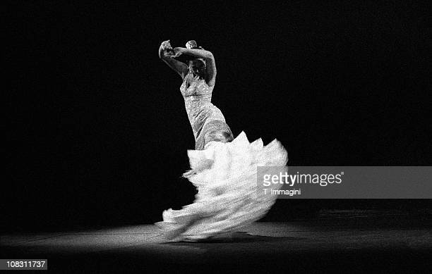 flamenco dancer in white - flamenco dancing stock photos and pictures