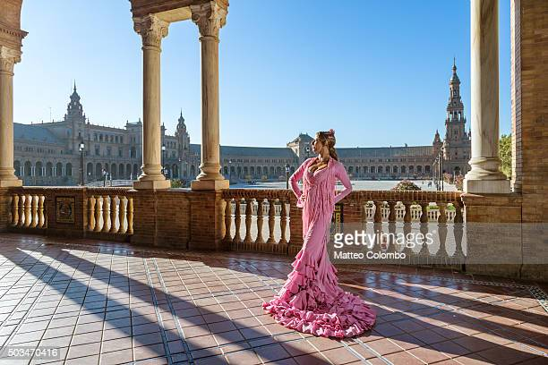 Flamenco dancer performing in Plaza de Espana, Seville, Andalusia, Spain