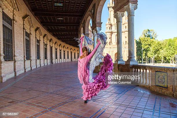 Flamenco dancer performing outdoors, Seville Spain