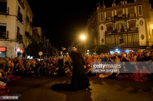 TOPSHOT A flamenco dancer performs at Altozano during the inauguration of the XX 2018 Flamenco Biennial from September 6 to September 30 in Seville...