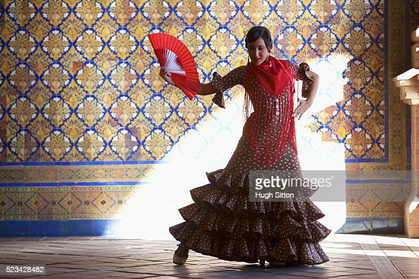 flamenco dancer with fan - hugh sitton stock pictures, royalty-free photos & images