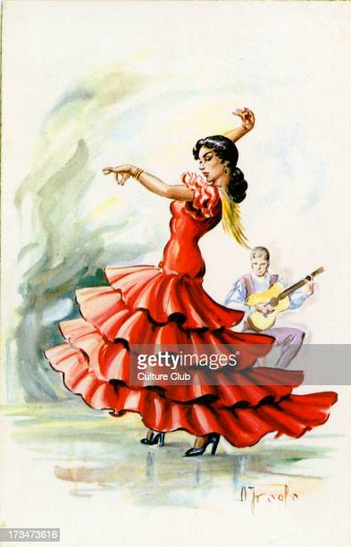 Flamenco dancer with guitarist Shows woman in flamenco dress in a typical stance with male guitarist in the background