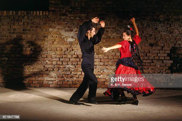 Flamenco Dancers in Red and Black
