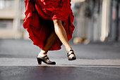 Flamenco dancers legs