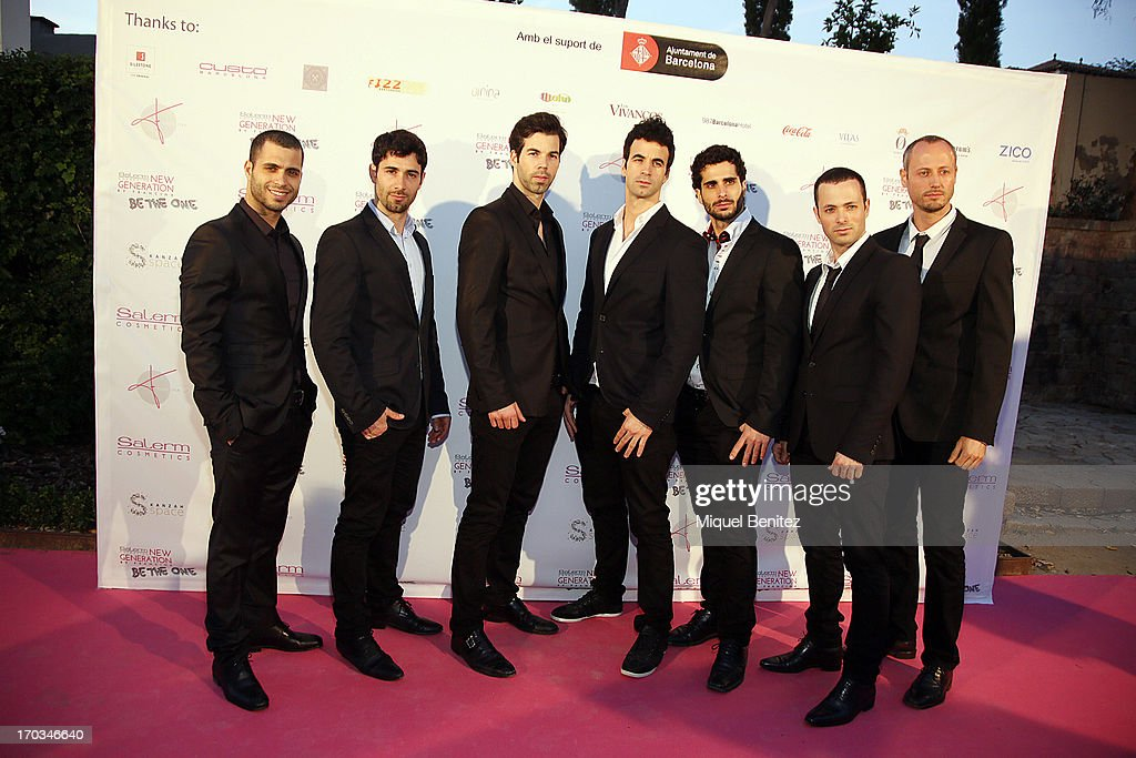 Flamenco dancers 'Los Vivancos' (L-R) Josue, Aaron, Israel, Josua, Cristo, Judah and Elias pose on the red carpet of New Generation by Francina on June 11, 2013 in Barcelona, Spain.