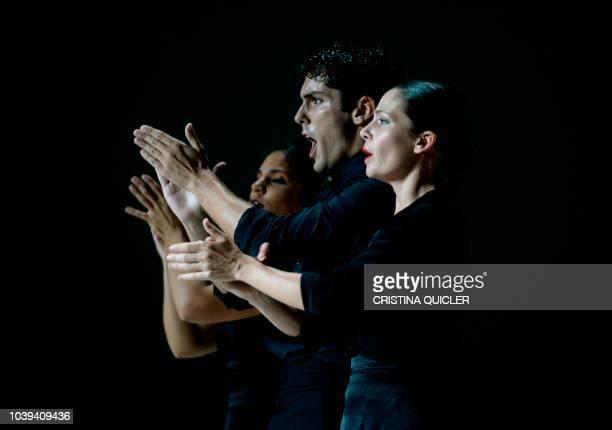 Flamenco dancers of the Ballet Flamenco de Andalucia rehearse the Flamencolorquiano' show at the Teatro de la Maestranza in Sevilla on September 24...