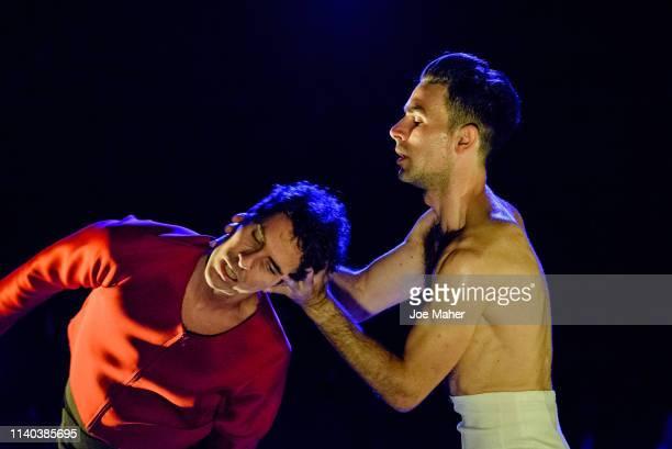 Flamenco dancers performing Albert Quesada Zoltán Vakulya's new production OneTwoThreeOneTwo at Lilian Baylis Studio on April 04 2019 in London...