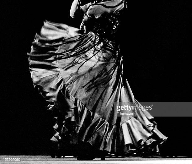 flamenco dancer's skirt and shawl - flamenco stock photos and pictures
