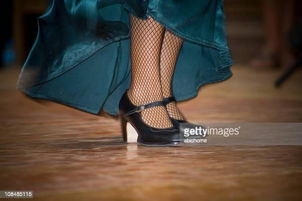 flamenco feet - nylon feet stockfoto's en -beelden