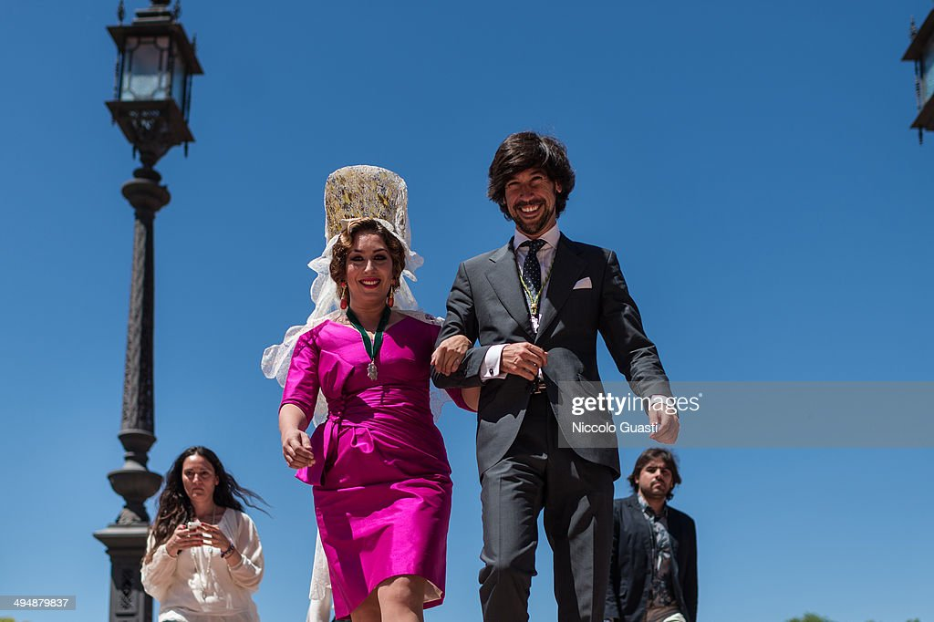 Flamenco singer Estrella Morente leaving the 50th Anniversary of 'La Macarena' crowning in the 'Plaza de Espana' Square on May 31, 2014 in Seville, Spain. Seville locals and visitors from around the world come in the masses to observe the grande celebration of the Jubilee Year of La Macarena held to mark the 50th anniversary of the canonical coronation of the Virgin of La Macarena, a 17th century Roman Catholic wooden image of the Blessed Virgin Mary venerated in Seville and one of the city's most popular symbols. --