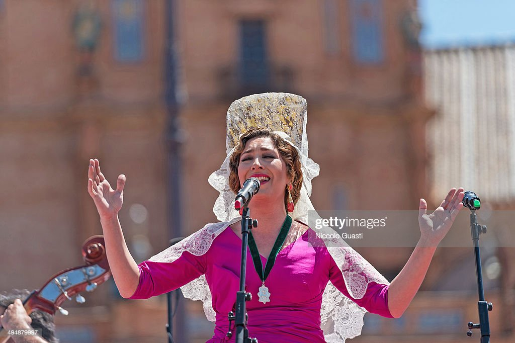 Flamenco singer Estrella Morente singing during the 50th Anniversary of 'La Macarena' crowning in the 'Plaza de Espana' Square on May 31, 2014 in Seville, Spain. Seville locals and visitors from around the world come in the masses to observe the grande celebration of the Jubilee Year of La Macarena held to mark the 50th anniversary of the canonical coronation of the Virgin of La Macarena, a 17th century Roman Catholic wooden image of the Blessed Virgin Mary venerated in Seville and one of the city's most popular symbols. --