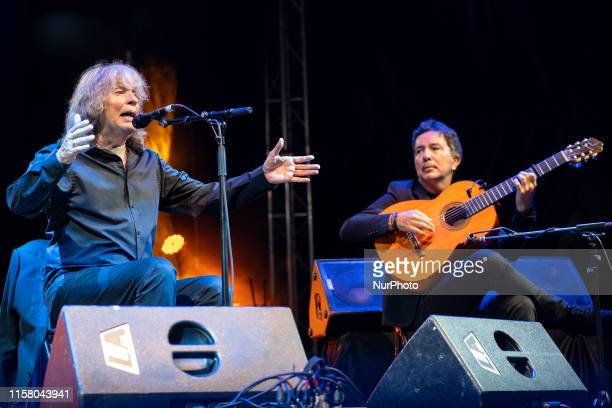 Flamenco singer José Mercé accompanied on guitar by maestro Alfredo Lagos during his concert at the Porticada square in Santander Spain on 25 July...