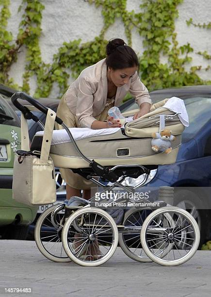 Flamenco singer Pitingo's wife Veronica Fernandez Prieto and her son Manuel are seen on May 11 2012 in Madrid Spain