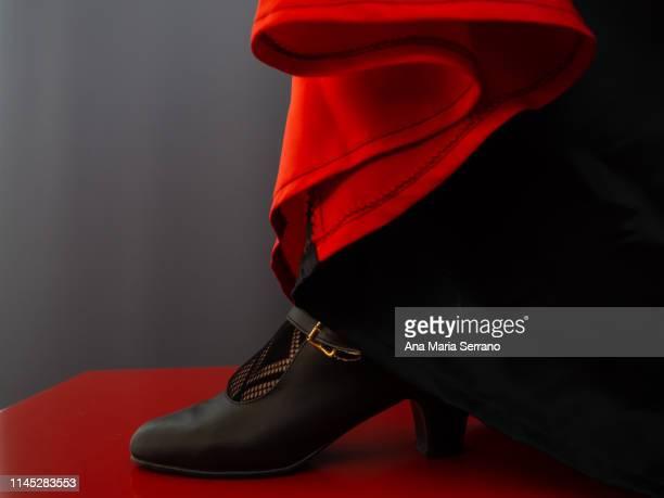 a flamenco woman with high heels and skirt. - flamengo imagens e fotografias de stock