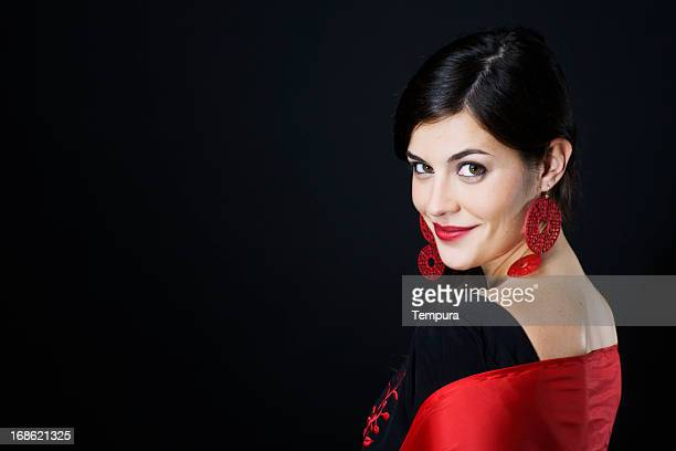 flamenco's dancer portait with copy space. - flamenco stock photos and pictures