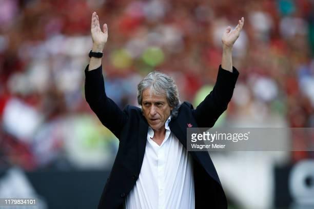 Flamengo coach Jorge Jesus at Maracana Stadium on November 3 2019 in Rio de Janeiro Brazil