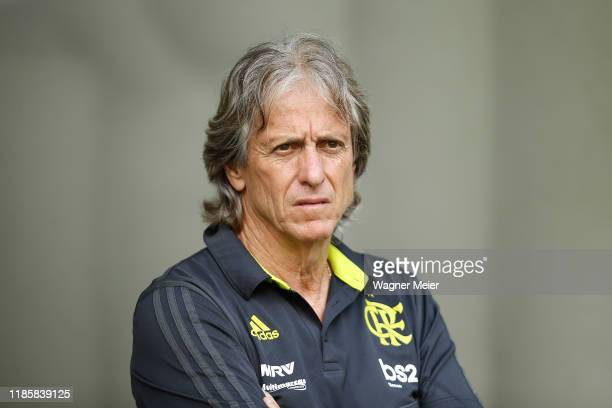 Flamengo coach Jorge Jesus during a match between Palmeiras and Flamengo part of Brasileirao Series A 2019 at Allianz Parque on December 1, 2019 in...