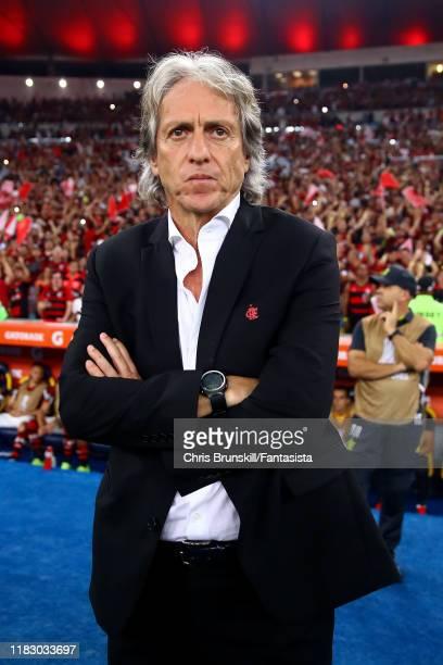 Flamengo coach Jorge Jesus looks on during the Copa CONMEBOL Libertadores 2019 Semi-Final 2 match between Flamengo and Gremio at Maracana Stadium on...