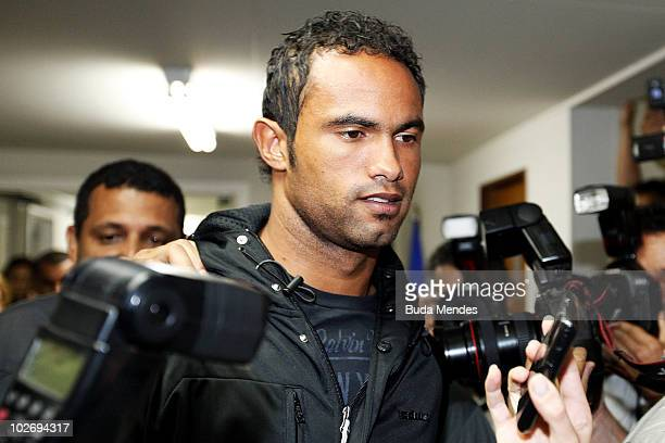 Flamengo goalkeeper Bruno Fernandes turns himself in to the police at the Polinter station of Andarai Neighborhood on July 7 2010 in Rio de Janeiro...