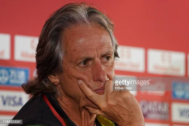 Flamengo head coach Jorge Jesus looks on during the press conference on December 16 2019 in Doha Qatar