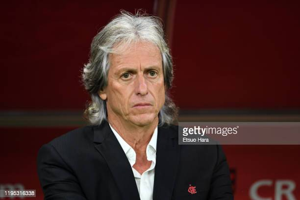 Flamengo head coach Jorge Jesus looks on prior to the FIFA Club World Cup Final between Liverpool and Flamengo at Khalifa International Stadium on...
