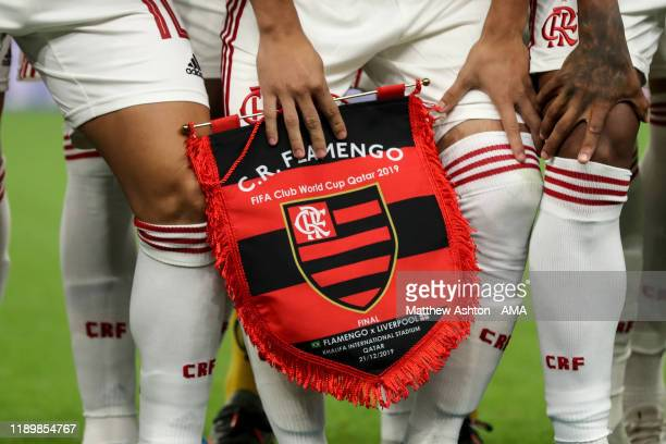 Flamengo match pennant featuring the final match fixture during the FIFA Club World Cup Qatar 2019 Final match between Liverpool FC and CR Flamengo...