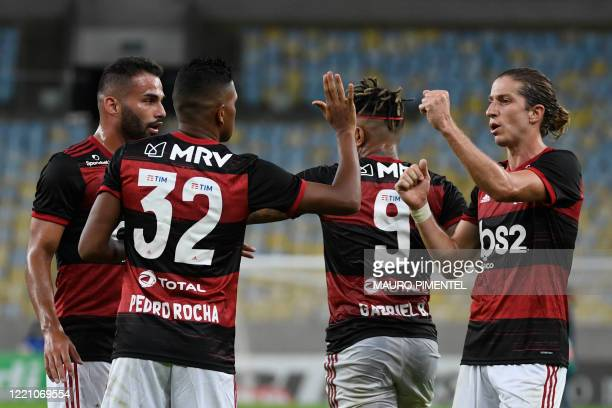 Flamengo player Pedro Rocha celebrates his goal with Felipe Luis during a Carioca Championship 2020 football match against Bangu at the Maracana...