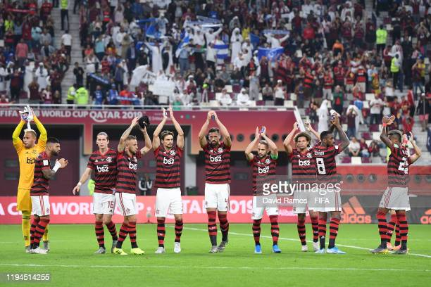Flamengo players applaud fans prior to the FIFA Club World Cup semifinal match between CR Flamengo and Al Hilal FC at Khalifa International Stadium...