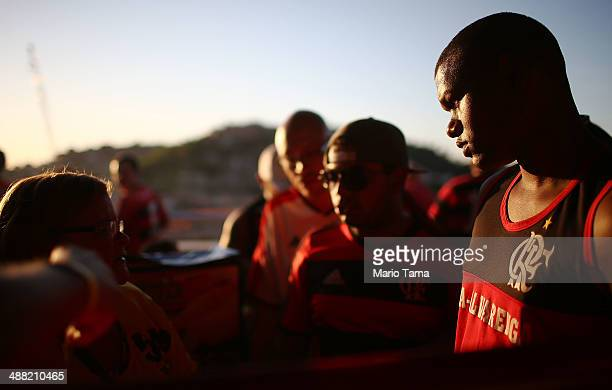 Flamengo supporters gather on the mezzanine during a match between Flamengo and Palmeiras as part of Brasileirao Series A 2014 at Maracana Stadium on...