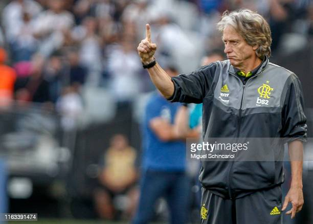 Flamengo team coach Jorge Jesus gestures during a match between Corinthians and Flamengo for the Brasileirao Series A 2019 at Arena Corinthians on...