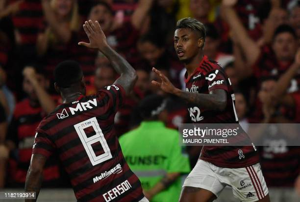 Flamengo team player Bruno Henrique celebrates with teammate Gerson after scoring against Vasco da Gama during their 2019 Brazilian Championship...
