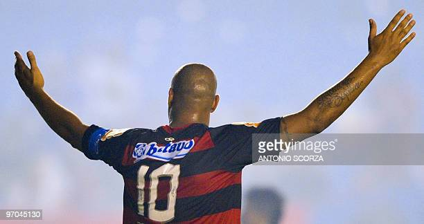 Flamengo's Adriano celebrates his goal during a Libertadores Cup match against Chile's Universidad Catolica on February 24 2010 at Maracana stadium...