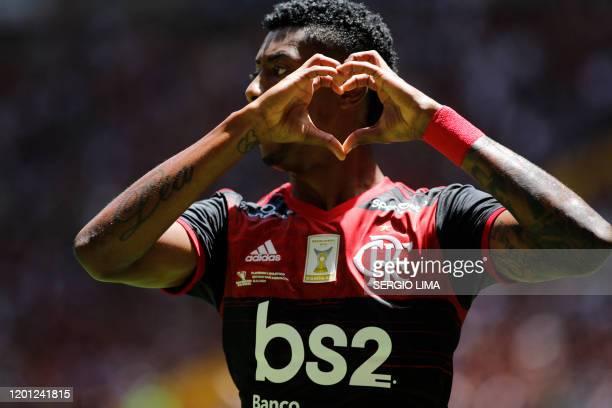 Flamengo's Bruno Henrique celebrates his goal against Atletico Paranaense during the final match of the Brazilian Super Cup at Mane Garrincha Stadium...