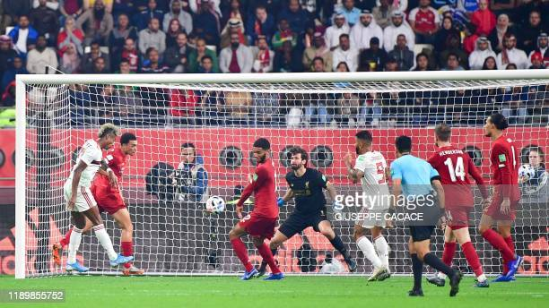 Flamengo's forward Bruno Henrique attempts a shot during the 2019 FIFA Club World Cup Final football match between England's Liverpool and Brazil's...