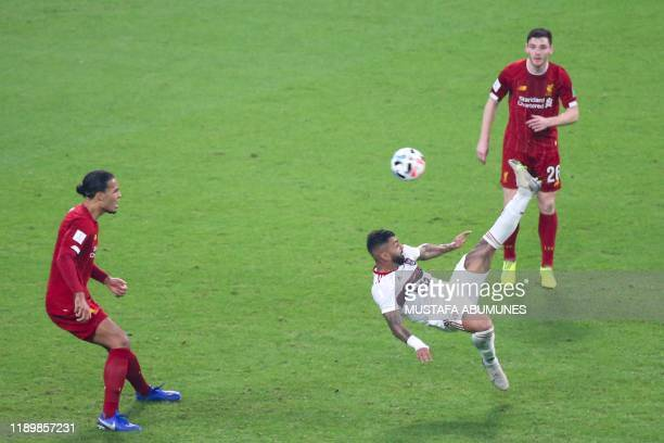 Flamengo's forward Gabriel Barbosa attempts an overhead kick during the 2019 FIFA Club World Cup Final football match between England's Liverpool and...