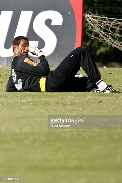 Flamengo's goalkeeper Bruno during a training at Ninho do Urubu training center on July 1 2010 in Rio de Janeiro Brazil He is the main suspected over...