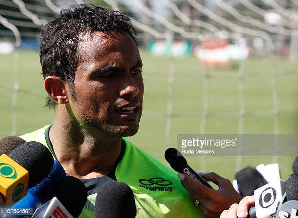 Flamengo's goalkeeper Bruno grants interview during a training at Ninho do Urubu training center on July 1 2010 in Rio de Janeiro Brazil He is the...