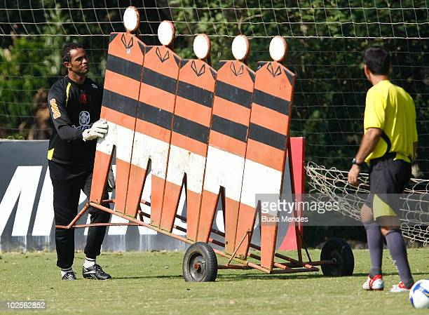 Flamengo's goalkeeper Bruno in action during a practice session at the Ninho do Urubu training center on July 1 2010 in Rio de Janeiro Brazil...
