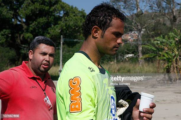 Flamengo's goalkeeper Bruno in action during a practice session at the Toca do Urubu training center on July 1 2010 in Rio de Janeiro Brazil...
