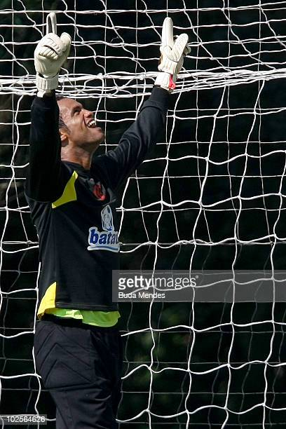 Flamengo's goalkeeper Bruno in action during a training at Ninho do Urubu training center on July 1 2010 in Rio de Janeiro Brazil He is the main...