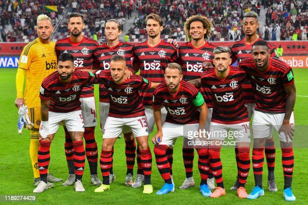 Flamengo's starting eleven pose for a group picture ahead of the 2019 FIFA Club World Cup semifinal football match between Brazil's Flamengo and...
