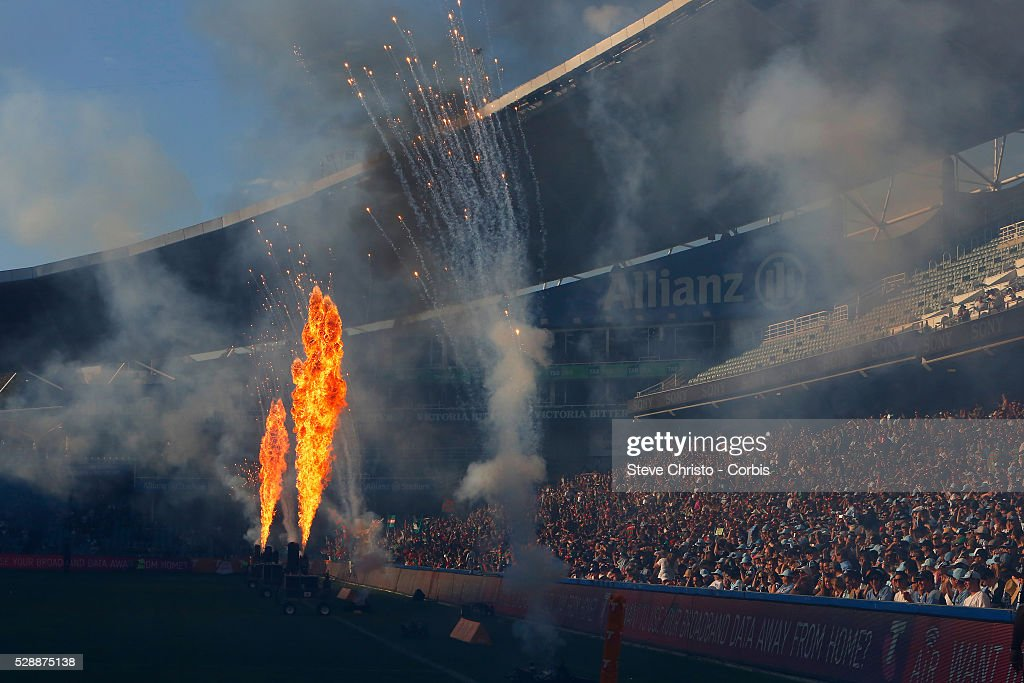 Flames and fireworks go off before the Elimination Final match between South Sydney Rabbitohs and Cronulla Sutherland Sharks at Allianz Stadium on Sunday, September 13th 2015, Sydney, Australia. (Photo: Steve Christo).